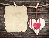 Old Paper With Heart And Place For Congratulations Valentine Or Mother's Day