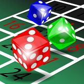 foto of roulette table  - Three colored dice with shadow on green roulette table illustration vector - JPG