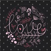 Floral nature love sign with hand drawn elements design. Flower and leaf, brunch ornament