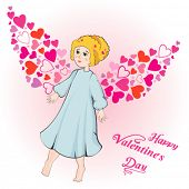 Valentine's Day greeting card with cupid