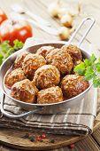 image of meatballs  - Meatballs in tomato sauce in the pan - JPG