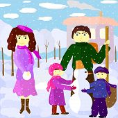 Illustration Of Family Outdoors In Winter