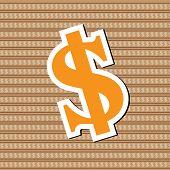 Sign Dollar On Sign Dollar Background Vector Illustration