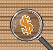 Sign Dollar Through Magnifying Glass On Sign Dollar Background