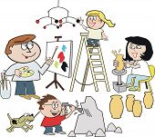 Family artist cartoon