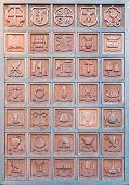 Bulletin Board With Terracotta Professions..orvieto Italy