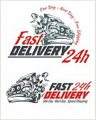 Delivery elements. Gray and red shipping signs collection.