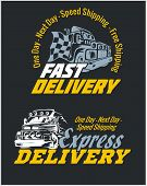 Delivery elements. Yellow and white signs labels.