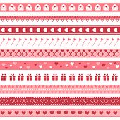 Seamless borders for Valentine's Day or wedding design