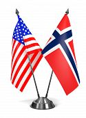USA and Norway - Miniature Flags.