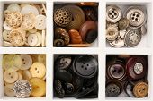 Various of sewing buttons in box, macro view