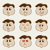 Face of a young boy cartoon with different facial expressions