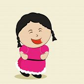Small laughing and dancing girl with black hair wearing pink clothes.