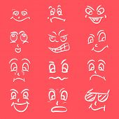 Set of different facial expressions on pink background.