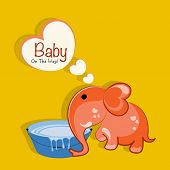 Cute creative cartoon of a elephant with water tub and saying baby on the way on yellow background. Can be used as greeting card or invitation card design,