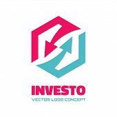 Investo - business logo concept illustration. Arrows recycled logo concept. Abstract icon design ele