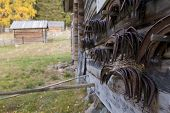 stock photo of scythe  - Close up on scythes hang on the timber wall - JPG