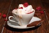 Coffee With Ice-cream And A Fresh Raspberry