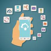 Vector Concept Of Cloud Services On Mobile Phone.