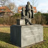 NETHERLANDS - VOORBURG - CIRCA DECEMBER 2014: Statue of Constantijn and Christiaan Huygens.