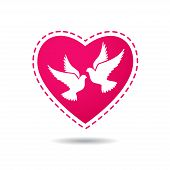 image of two hearts  - Two white doves on a red heart background - JPG