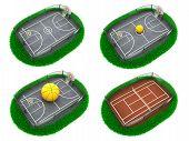 Set Sport Concepts. 3d Miniature.