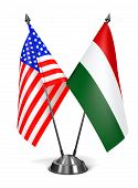 USA and Hungary - Miniature Flags.