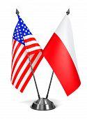 USA and Poland - Miniature Flags.