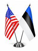 USA and Estonia - Miniature Flags.