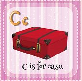 Illustration of an alphabet C is for case