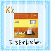 Illustration of an alphabet K is for kitchen