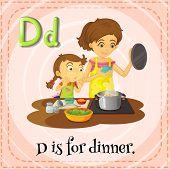 Illustration of an alphabet D is for dinner