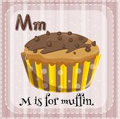 Illustration of a letter M is for muffin