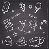 Chalkboard style sweets and candy icons