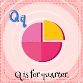 Illustration of a letter Q is for quarter