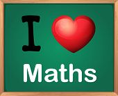 Illustration of a sign saying I love maths