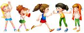 Illustration of many girls doing exercise