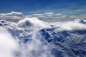 Snow Mountains With Clouds In Evening