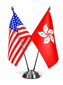 USA and Hong Kong - Miniature Flags.