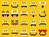 Vector Set Of Different Cartoon Pixel Faces