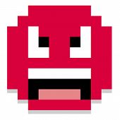 Vector Cute Cartoon Pixel Angry Face Isolated