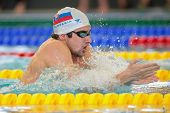 GRAZ, AUSTRIA - APRIL 05, 2014: Tomas Klobucnik (Slovakia) places 2nd in the men's 200m breaststroke event in an indoor swimming meeting.