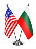 USA and Bulgaria - Miniature Flags.