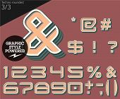 Vector illustration of an old fashioned alphabet. Techno rounded. Set 3
