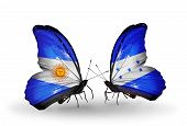 Two Butterflies With Flags On Wings As Symbol Of Relations Argentina And Honduras
