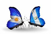 Two Butterflies With Flags On Wings As Symbol Of Relations Argentina And Guatemala