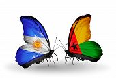 Two Butterflies With Flags On Wings As Symbol Of Relations Argentina And Guinea Bissau