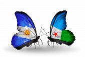 Two Butterflies With Flags On Wings As Symbol Of Relations Argentina And Djibouti