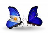 Two Butterflies With Flags On Wings As Symbol Of Relations Argentina And Eu