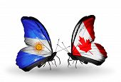 Two Butterflies With Flags On Wings As Symbol Of Relations Argentina And Canada